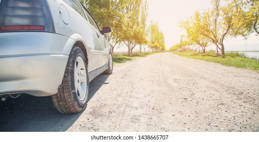 Car on road with sunlight. Transportation, Travel