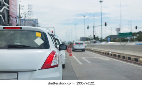 car on road traffic jam with blank sign sticker on back for design your text