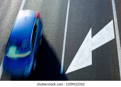 A car on the road. View from above.