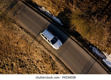 Car on the road - view from above