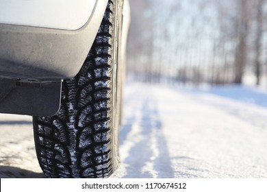 Car on a road in winter