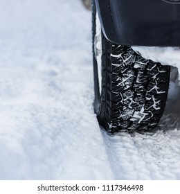 Car On Snowy Road. Winter concept.