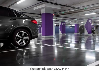 The car on the underground parking