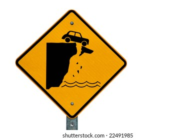 Car over cliff danger sign isolated on a white background
