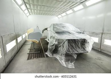 The car in the painting chamber is ready for painting