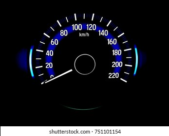 car panel speedometer Units are kilometers.
