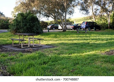 Car park in Australian Bush land with picnic table