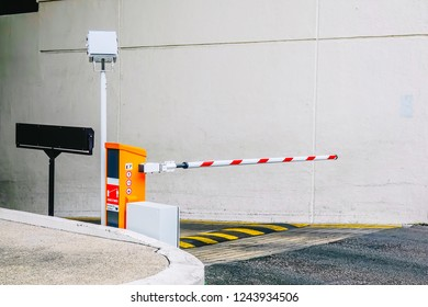 Car park barrier, Security system for building access - barrier gate stop with traffic cones and cctv