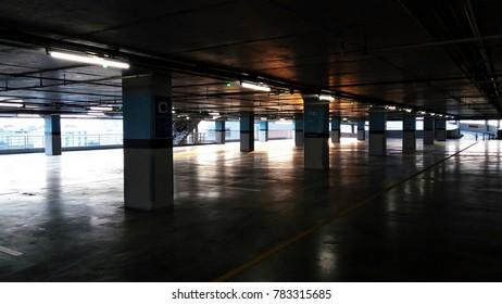 Car park at the evening at shopping mall