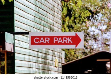 A car park sign attached to a classroom building at Gerehu Secondary School in Port Moresby, Papua New Guinea.