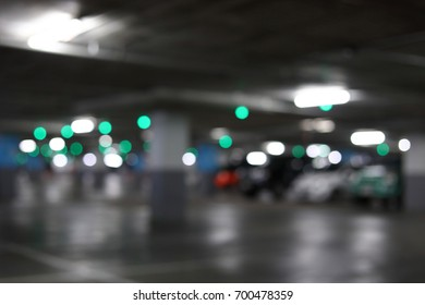 car park underground building in the city, abstract blur image background