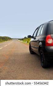 Car parked on road , Plateau of Parque natural de Madeira, Madeira island,  Portugal