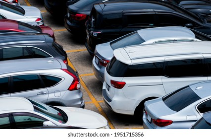 Car parked at parking lot of the airport for rental. Aerial view of car parking lot of the airport. Used luxury car for sale and rental service. Automobile parking space. Car dealership concept.  - Shutterstock ID 1951715356