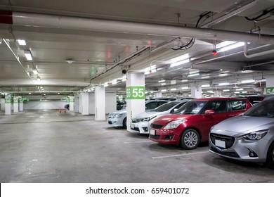 car in parking background in thailand
