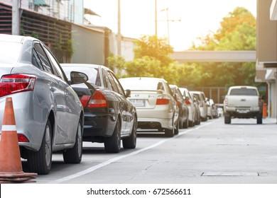 Car parking in line on daytime