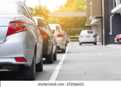 Car parking in line and  car running background