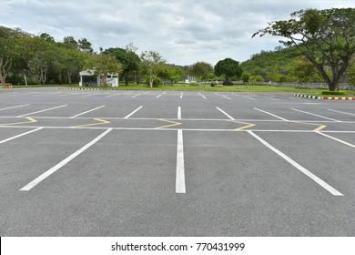 Car parking slot white line asphalt