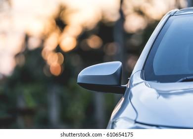 Car parking with sunset light