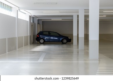 car in the parking lot in the underground parking