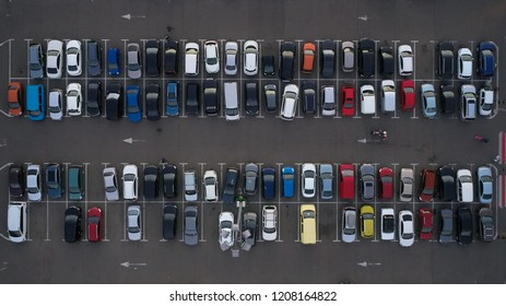 Car parking lot viewed from above, Aerial view. Top view