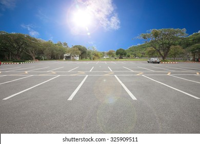 Car parking lot with white lines mark