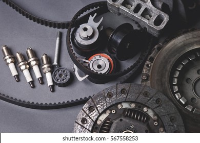 Car parts on grey background