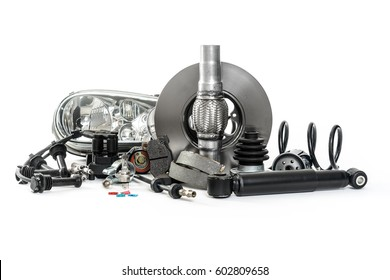 Car parts for service on the vehicle. Shock absorbers, brake shoes, brake disc, brake pads