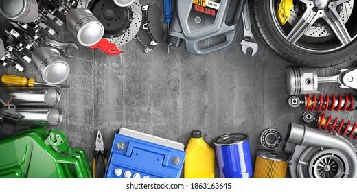 Car parts, spares and accesoires. Auto service and car repair workshop concept. 3d illustration
