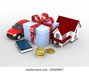 car, phone, home and money as a gift