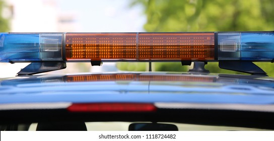 car police with sirens to surveillance of the city