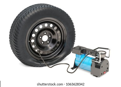 Car portable electric air compressor with puncture car wheel, 3D rendering isolated on white background