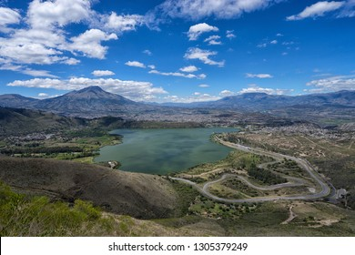 the car race track at Yahuarcocha lake in Ibarra, Ecuador seen from above