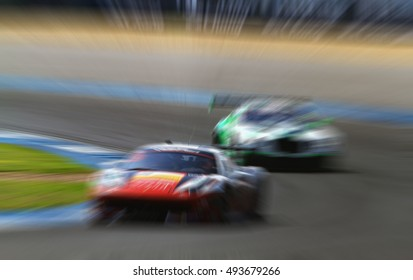 car racing on the road and track with motion blur and Radial blur