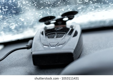 Car radar detector installed on the window