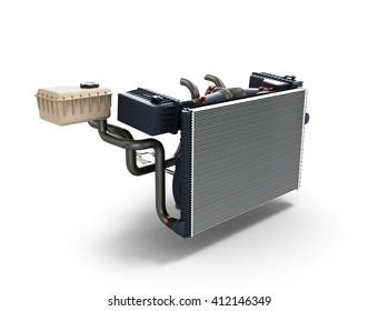 car radiator isolated on white background 3d illustration