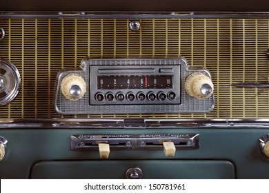 Car radio in retro automobile closeup photo