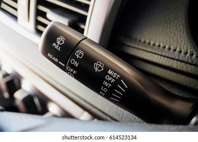 Car Rain windscreen wiper control stick close up