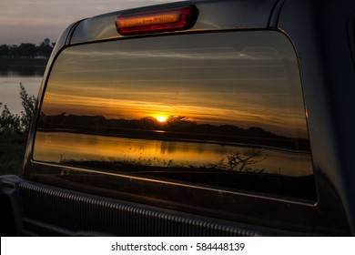 Car reflection of the view