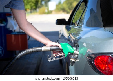 Car refueling on a petrol station.