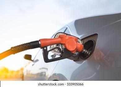 Car refueling on a petrol station.