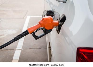 Car refueling on a petrol station
