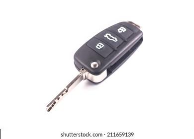car remote key on white background