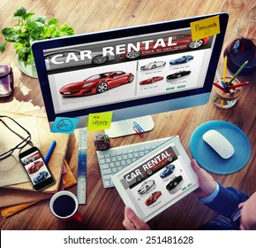 Car Rental Transportation Logistics Selection Man Working Concept