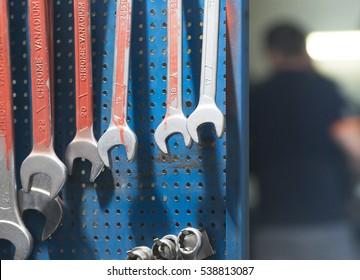 Car repair equipment in the tool box in car repair shop