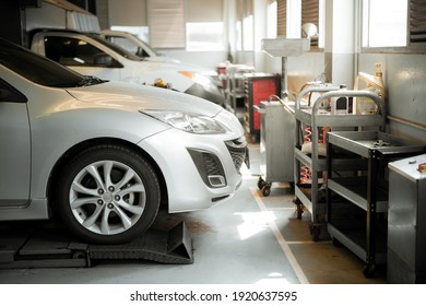 car in repair and service center