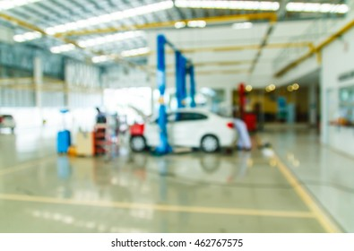 car repair service centre blurred background