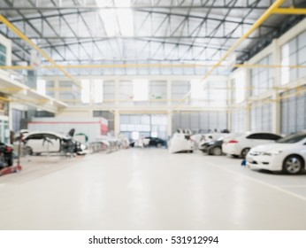 Car repair service centre interior blurred background