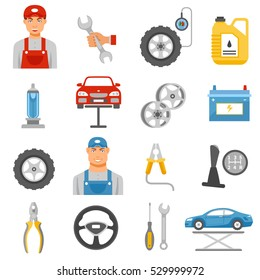 Car repair shop tools and accessories and auto service mechanic flat icons set abstract isolated  illustration