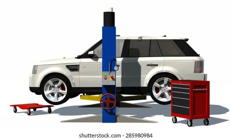 Car repair - SUV on hydraulic ramp - isolated on white background