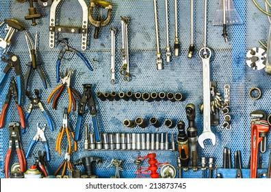 car repair workshop tools on the wall